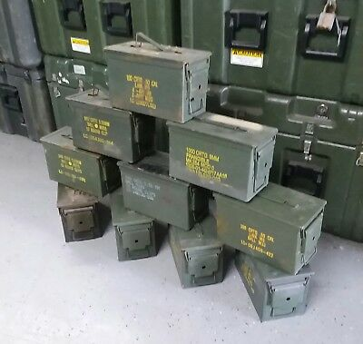 $120 • Buy US Military Surplus 50 CAL M2A1 Ammo Cans LOT OF 10 Airtight Steel 12x6.5x7.5