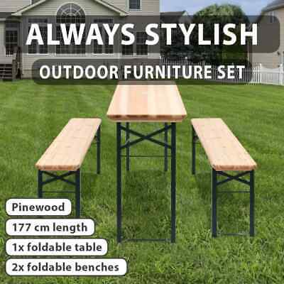 AU186.99 • Buy Outdoor 3pc Beer Table Bench Set Wooden Dining Chair Foldable Garden Furniture