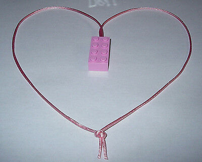 $6.50 • Buy 10 Pink Lego Brick Block Necklaces  Pink Cords Birthday Party Favors