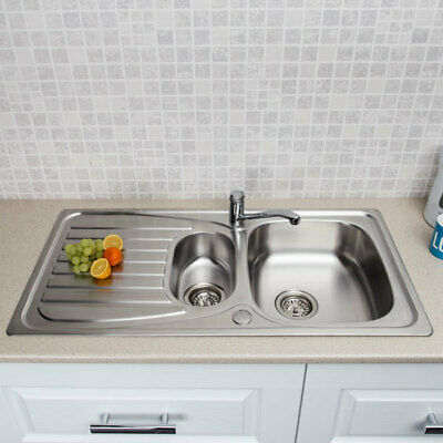 Stainless Steel Kitchen Sink Inset 1.5 Bowl Reversible Drainer + FREE Wastes • 74.99£