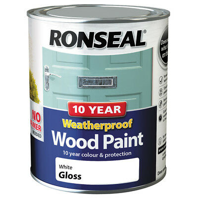 Ronseal 10 Year Weatherproof Wood Paint 750ml Satin Gloss 2in1 No Primer Needed • 15.72£