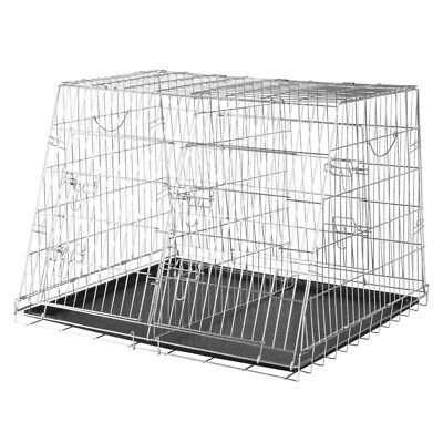 £99.65 • Buy Collapsible Double Metal Pet Car Crate Cage | Puppy Dividable Folding Transport