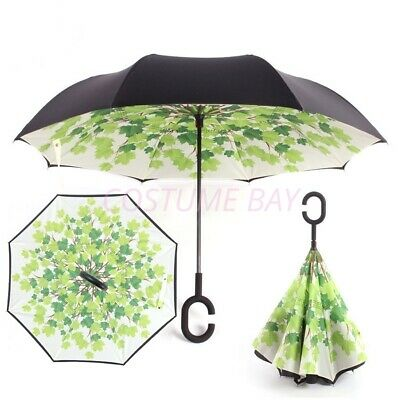 AU21.45 • Buy Windproof Upside Down Reverse Umbrella C-Handle Double Layer Inside-Out Inverted