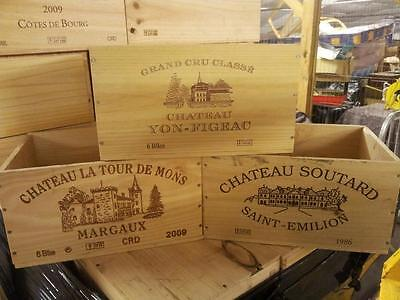 £14.95 • Buy French Crested 6 Bottle Wooden Wine Crate / Box - Office Archive Storage Drawer.