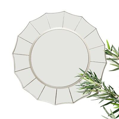 Large Silver Antique Art Deco Round Wall Mirror Distressed Brushed Sunburst 60cm • 44.95£
