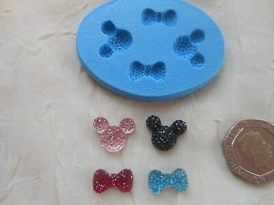 £4.50 • Buy Mini Craft Mould: TINY Mickey/Minnie Mouse Bling Gem FACE 12x14mm & BOW 7x13mm
