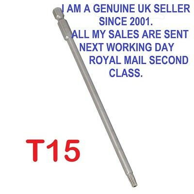 1/4  Hex Shank 150mm Long T15 Magnetic Torx Security Screwdriver Bit • 3.75£