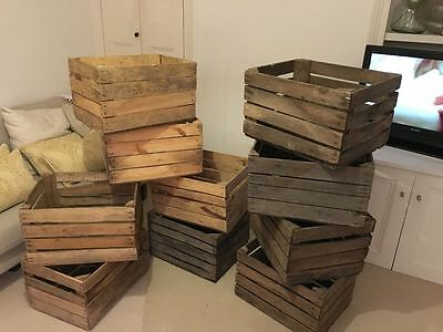 Large Rustic Wooden Slatted Fruit Apple Storage Welly Wine Crate Vintage Box • 16.95£