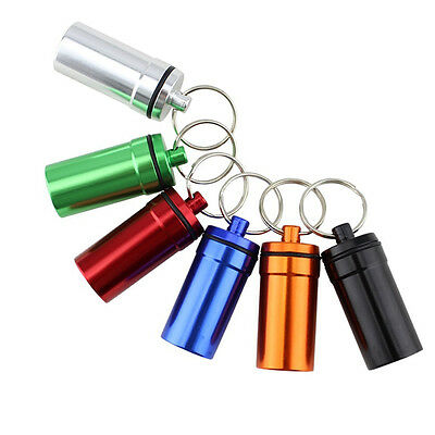 $7.45 • Buy Waterproof Aluminum Medicine Pill Container Box Bottle Case Key Chain Holder US
