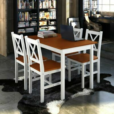 AU348.69 • Buy 5 Piece Wooden Dining Table Setting 4 Chairs Furniture Set Timber