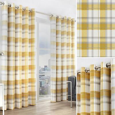Ochre Eyelet Curtains Balmoral Tartan Check Lined Mustard Ring Top Curtain Pairs • 46.95£