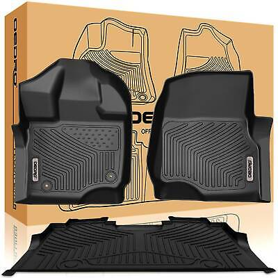 OEdRo Fit For 2015-2020 Ford F-150 Floor Mats Liners SuperCrew Cab Black F&R • 110.99$