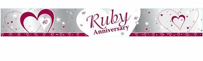 9ft Ruby Anniversary Foil Banner 40 Years 40th Wedding Party Decoration Supplies • 2.10£