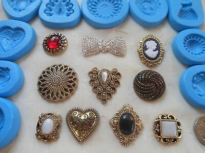 £3.75 • Buy 1x Mini Craft Mould: Choice Of Vintage Brooch (Cupcake Clay Resin PMC Plaster)
