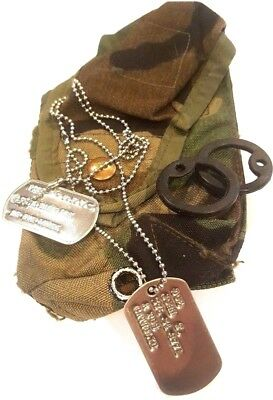 $6.98 • Buy Shiny Military Personalized Dog Tags & Chain & Silencers Official Gi Army / Usmc