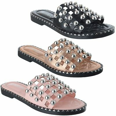 £12.99 • Buy Womens Ladies Flat Heel Studded Caged Slip On Summer Sliders Sandals Shoes Size