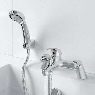 £26.07 • Buy Bathroom Bath Shower Mixer Tap With Handset Chrome Modern Curved Single Lever