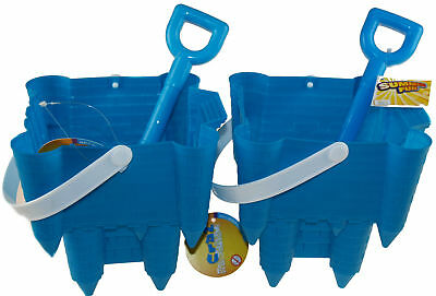 £10.99 • Buy Set Of 2 Blue Sand Castle Shaped Bucket And Spade