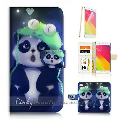 AU12.99 • Buy ( For Oppo A57 ) Wallet Case Cover P21536 Cute Panda