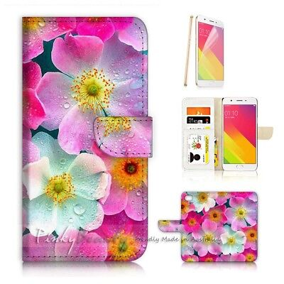 AU12.99 • Buy ( For Oppo A57 ) Wallet Case Cover P21565 Flower