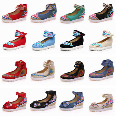 £13.82 • Buy New Womens Chinese Embroidered Floral Flat Shoes Ankle Strap Handmade Folk Shoes
