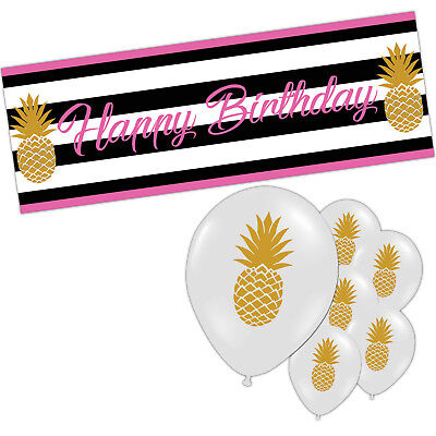 Gold Golden Pineapple Hawaiian Luau Tiki BBQ Summer Party Supplies Decorations • 2.99£