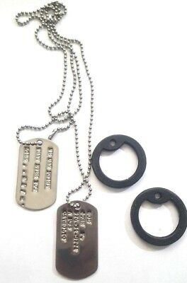 $8.98 • Buy Military Personalized Dog Tags Ball Chain & Silencers Official Gi Army / Usmc