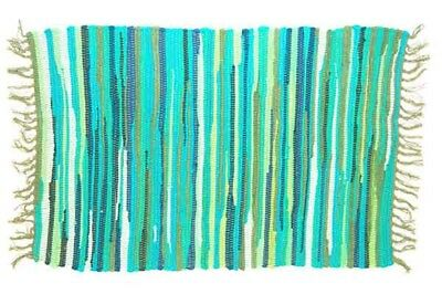 £11.99 • Buy RAG RUG FAIR TRADE INDIAN MAT HAND LOOMED BRAIDED RECYCLE COTTON 60 X 90cm GREEN