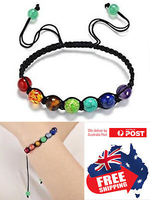 AU5.95 • Buy New 7 Chakra Stone Bead Bracelet Men Women Natural Balance Healing Bead 1pc