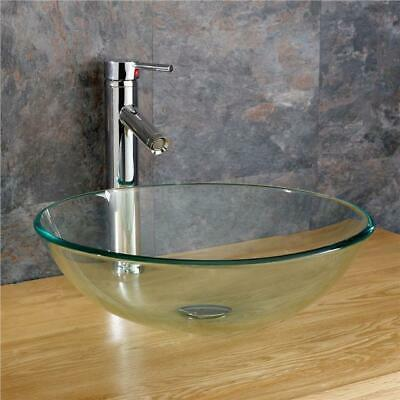 Glass Countertop Basin Round Sink 420mm Clear Basin Counter Top Cloakroom • 99£
