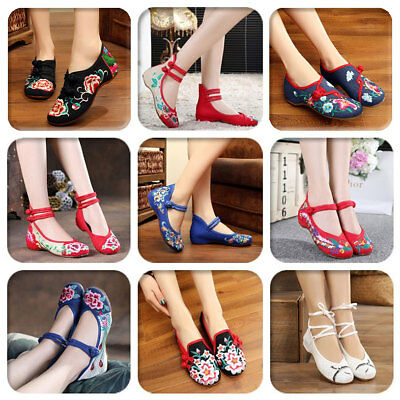 £12.75 • Buy Womens Chinese Folk Embroidered Flower Soft Sole Ballet Pump Flat Floral Shoes