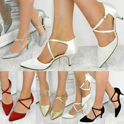 £16.99 • Buy Womens Ladies Bridal Wedding Shoes Strappy Sandal Bridesmaid Mother Of The Bride