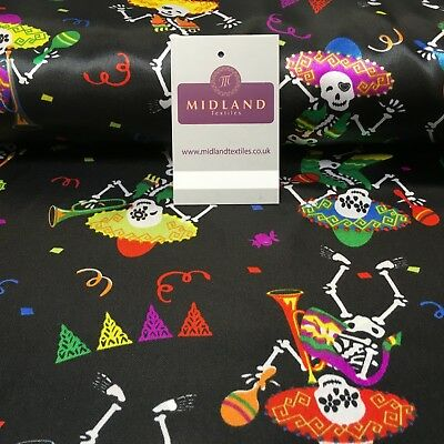 £6.99 • Buy Black Satin Printed Mexican Halloween Skeleton Fabric 58  Wide MH950 Mtex