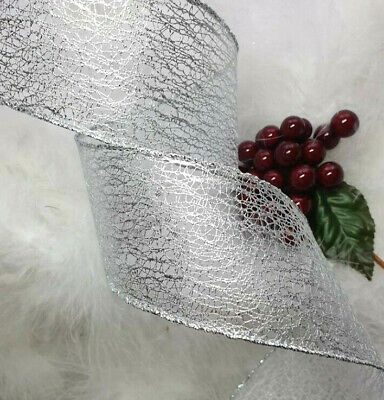 1m X 63mm WIRED CHRISTMAS RIBBON SILVER WEB MESH SPARKLE TREE GIFT FLORAL BOW • 1.99£