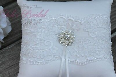 Romantic Ivory Ring Pillow, Beautiful Lace Ring Bearer Pillow With Brooch • 17.93£