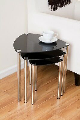 ARENA SET OF 3 NESTING TABLES/END SIDE TABLE-Black Glass,Chrome Legs -GNT06B • 42.99£