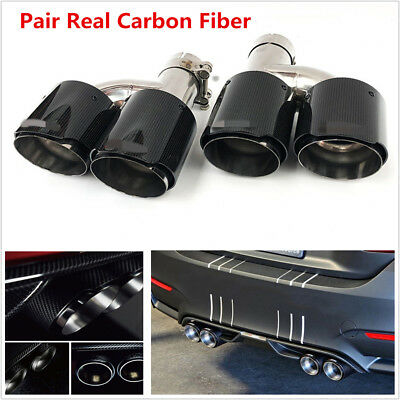 $ CDN181.36 • Buy Pair Left+Right Glossy Real Carbon Fiber Car Exhaust Dual Pipe Tail Muffler Tip