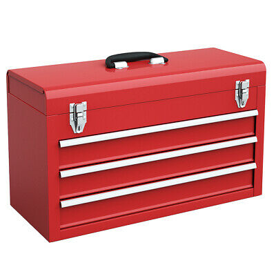 View Details Portable Tool Chest Box Storage Cabinet Garage Mechanic Organizer 3 Drawers Red • 59.99$