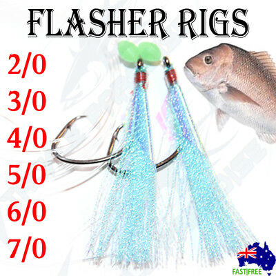 AU13.95 • Buy Blue Snapper Snatchers Rigs Flasher Circle Hooks Fishing Rigz Paternoster Lumo