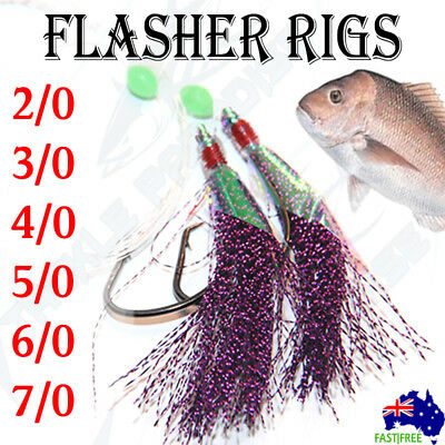 AU13.95 • Buy Purple Snapper Snatchers Rigs Flasher Circle Hooks Fishing Lure Paternoster Lumo