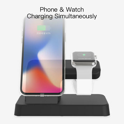 $ CDN25.70 • Buy For Apple Watch Series 1/2/3 IWatch IPhone X 8 Charging Dock Stand Pad Charger