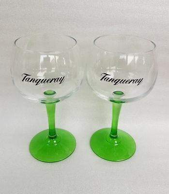A Pair  Stunning Tanqueray Green Stemmed Gin Balloon Glasses - NEW  • 12.99£