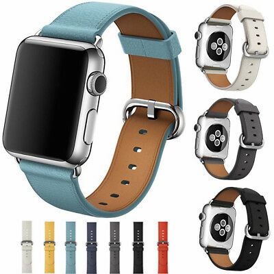 $ CDN8.13 • Buy For Apple Watch Series 3/2/1 Genuine Leather IWatch Band Business Strap 38/42mm