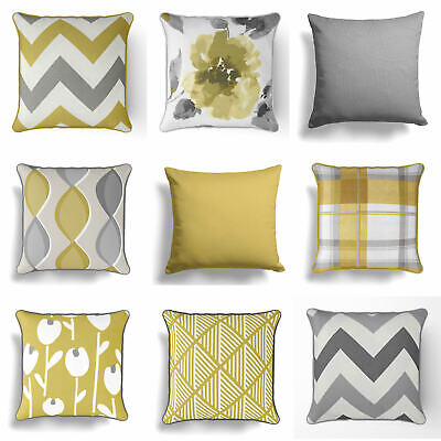 £5.95 • Buy Ochre Mustard Yellow Grey Cushion Cover Collection 17  / 18   43cm / 45cm Covers