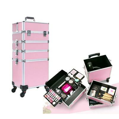 $72.39 • Buy 4 In 1 Pro Aluminum Rolling Makeup Case Salon Cosmetic Organizer Trolley Pink