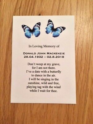 10 Personalised  Forget-Me-Not Seeds Funeral, Memorial, In Memory Of, Butterfly • 4.50£