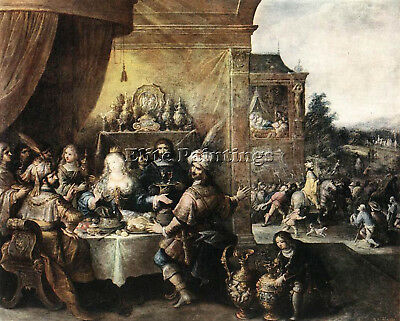 $ CDN314.58 • Buy Francken Frans Ii Feast Of Esther Artist Painting Oil Canvas Repro Wall Art Deco