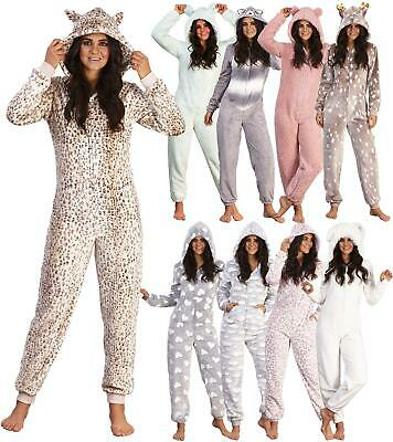 Ladies Luxury Soft Coral/Sherpa Fleece Animal 3D Hood All In One Pyjamas 1Onesie • 22.99£