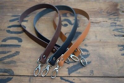 Replacement Leather Shoulder Bag Strap 25mm Wide 600mm Long With Silver Clasps • 11.40£