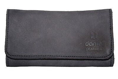 Genuine Leather Smoking Tobacco Pouch Pocket Case Black With Lining Zip Pocket • 12.99£